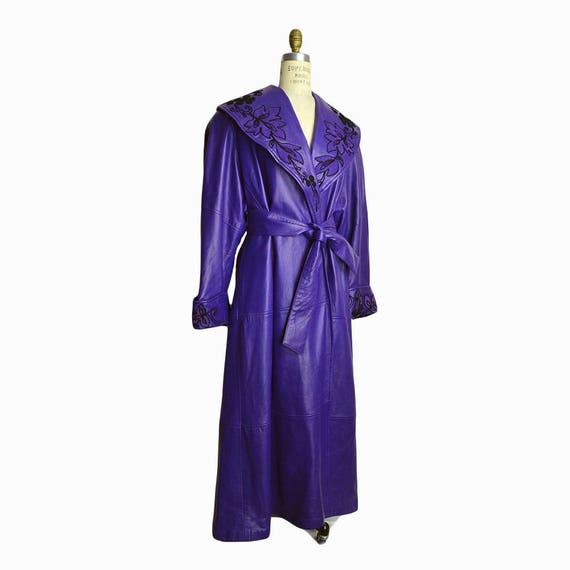 Vintage 80s Floor-Length Purple Leather Coat / Floral Leather Jacket / Prince Purple Rain Coat - women's medium (oversized)