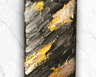 Handpainted artistic abstract black silver gold phone case (iPhone 7, iPhone 6)