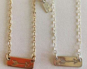 Petite Arrow Bar Necklace