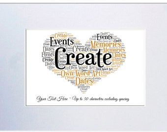 Personalised Heart Shaped Mounted Word Art - Unframed