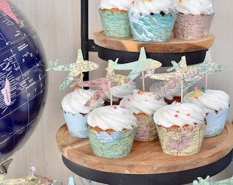 Vintage Map Airplane Cupcake Toppers - Perfect for weddings, birthdays, baby showers, and much more!