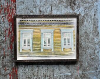Russian decorative dacha window. Original Encaustic Photography. Rostov, Russia. Fine art wall decor. Rustic. Yellow, baby blue. Framed 5x7