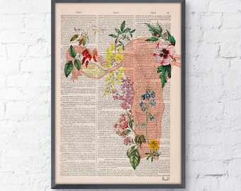 Uterus Flowery collage -Woman gift - Medicine student gift art, Anatomical home decor, Pregnancy gift SKA111