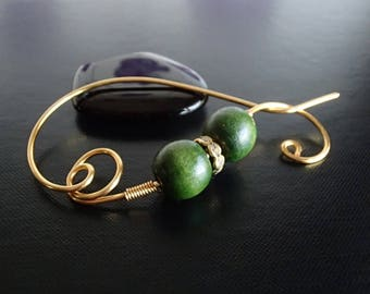 Shawl Pin, Scarf Pin, Wire Pin, Wood beads brooch, Knitting Accessories, Gold Wire Pin, Women's Accessory