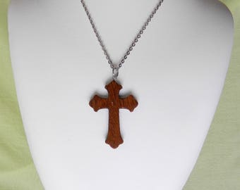 Sucupira wood cross necklace