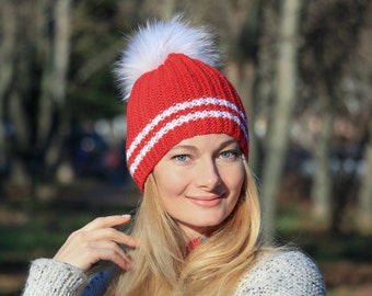 Luxury raccoon fur hat adult raccoon pom pom hat women scarlet red hat knit santa hat knit christmas hat adult santa hat santa claus hat
