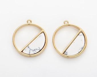 Half circle Howlite Pendant, White Marble Charm Polished Gold -Plated - 2 Pieces [G0194-PGHW]