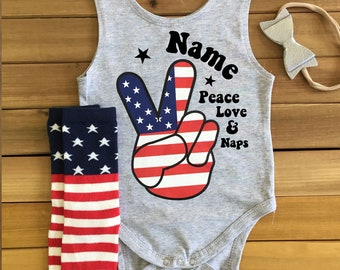 4th of July Outfit with Custom Name INCLUDES Socks & Headband Patriotic Outfit Baby America Outfit Baby July 4th Outfit Baby Peace Love Naps
