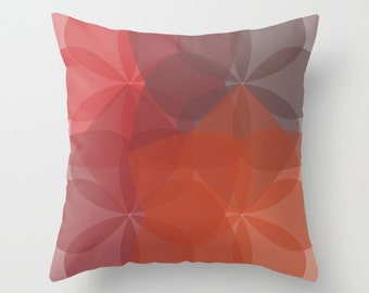 Geometric Flower Pillow Cover - Rust Orange Brown Pillow Cover - Abstract Throw Pillow - Accent Pillow - Mid Century Decor - includes insert