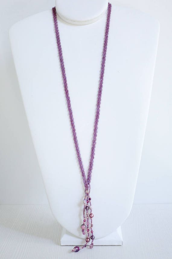 Rose Gold & Champagne Beaded Lariat with Tassel