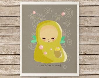 Be Yourself // Kids Room Nursery Art Illustration, Animal Art, Alien, Cute, Modern Art, Be Yourself, Friendship