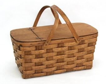 Vintage Woven Oak Wood Picnic Basket