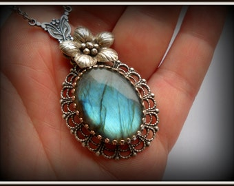 Victorian Blue Necklace  AAA Grade Flashy Labradorite Sterling Silver Victorian Art Nouveau Necklace Pendant