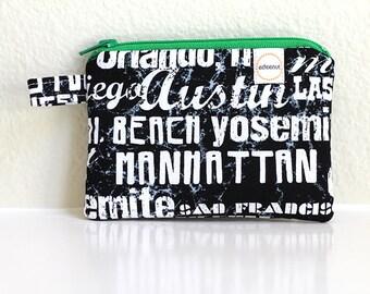 Card zipper pouch Black graffiti, Credit card coin purse, City names bag New York, Los Angeles, Chalk art, washington DC, change purse