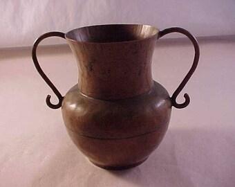 Small Hammered Copper Handled Vase