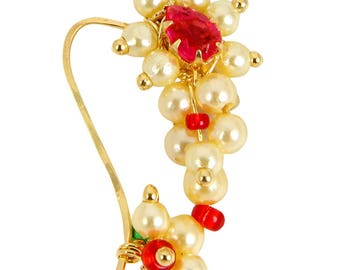 Indian nath nose stud Gold plated nose clip on Maharashtrian costume Bollywood jewelry Bajirao Nath pierced nose ring pearl light in US