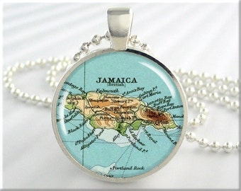 Jamaica Map Pendant, Resin Charm, Caribbean Island Map Necklace, Picture Jewelry, Gift Under 20, Round Silver, Travel Gift 384RS