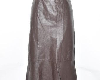 "Vintage Brown Leather High Waist Flippy Calf Length Skirt Size UK12 L32"""