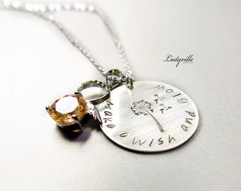 925 Necklace - Make a Wish with a Dandelion and an Angel