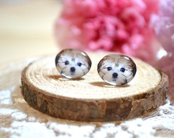 Shorkie puppy  earrings handmade Tiny jewelry with linen cotton bag