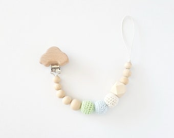 Pacifier pacifier - organic and natural wood beads and crochet beads - model car