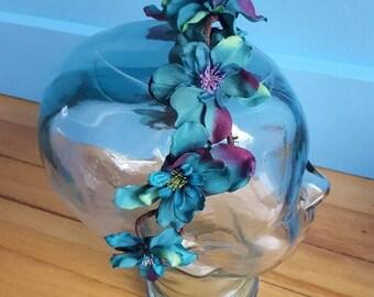 Teal Flower Crown, Aqua Flower Tiara, Teal Flower Headband, Boho Flower Crown, Flower Tiara, Teal Flower Headband, Teal Flower Headpiece