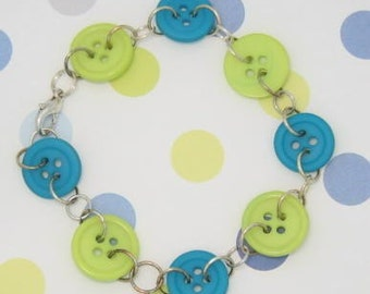 Apple Green and Teal with envy buttoned bracelet