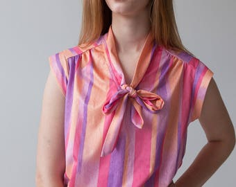 Pink Sherbet Secretary Blouse - Short Sleeve / Vertical Stripe / V Neck Shirt with Bow Tie Size Med - Large / XL