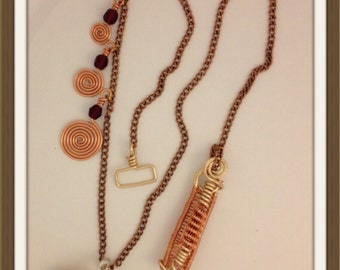Handmade MWL copper and red beaded necklace. 0053
