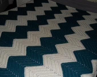 Crochet Afghan - Blanket - Throw - Coverlet - Bedspread -  XLarge  ''CHEVRON RIPPLE'' in Teal and Ivory