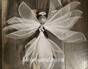 Lung cancer awareness angel, cancer awareness decor, angel decor, deco mesh angel, memorial gift, rememberance gift