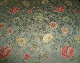 KRAVET LEE JOFA Annette Garden Flowers Fabric 11.5 Yards Willow Green Coral Peach Yellow Multi