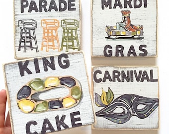 Set of 4 Wood Signs: Mardi Gras Kitchen Set, New Orleans Wall Art, New Orleans Art, Southern Art, Rustic Home Decor, New Orleans Gift