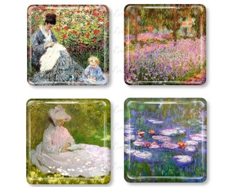 Claude Monet, Glass Magnet, Refrigerator Magnets, Fridge,Water Lilies, Irises in Monets Garden, Madame Monet and Child, A Woman Reading.