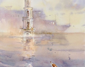 Travel Watercolor Postcard from Russia Kalyazin Flooded Bell Tower