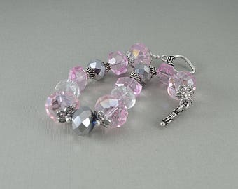 Pink and gray faceted chunky crystal sterling silver bracelet