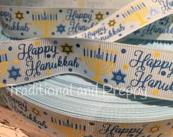 "3 YARDS 7/8"" HANUKKAH Light Blue Menorah Star of David Glitter Grosgrain Ribbon"