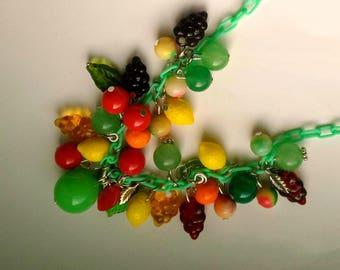 Bakelite Style Fruit Necklace, Colorful Fruit Necklace, Fruit& Leaf Statement Jewelry, Orange Lemon Apple Cherry Grape Pomegranate Jewelry