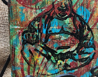 """Buddha 8""""x8"""" monoprint. Red, turquoise, and yellow canvas wall art."""