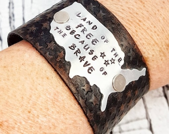 Leather Cuff, Leather Bracelet, Cuff Bracelet, Black Leather Cuff, Patriotic Jewelry, Leather Wristband, Womens Gift, Leather Jewelry