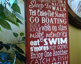 Lake Rules Subway/Typography Word Art Primitive Wooden Sign