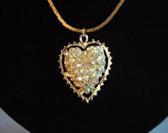 Rhinestone Heart Necklace ~ Vintage