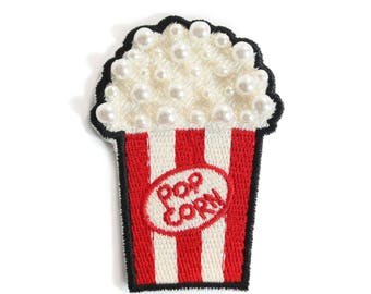 Embroidered popcorn patch with pearls