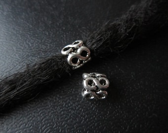 5PCS number 8*5 sides Silver Dreadlock beads dread Hair Braid Jewelry Accessories 5mm hole