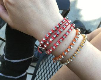 Bohemian Wrap Bracelet | Festival Jewelry | Colorful Rhinestone Bracelet