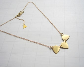 Brass Bunting Necklace,Bunting Necklace,Geometric Jewelry