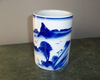 Ceramic Container Vase Hand Painted Cobalt Blue Vintage