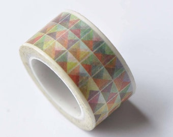 Colorful Triangle Square Geometric Shape Washi Tape 20mm x 5M Roll No.12728
