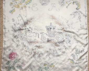 "Large Vintage Limited Edition 1977 Oliver Messel ""Queen Elizabeth II ~ Silver Jubilee"" Pure Silk Scarf"