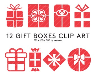Gift Box Clip Art, Happy Birthday Clipart, Christmas Vector, Xmas Icon, Decoration Decor, Digital Paper, EPS JPG PNG Files, Instant Download